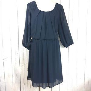 By & By Navy Blue Plus Size Chiffon Dress